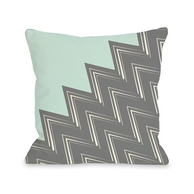 Maxine Asymmetry Chevron Throw Pillow Color: Fair Aqua Gray, Size: 16 x 16