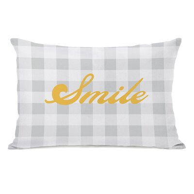 Smile Gingham Throw Pillow