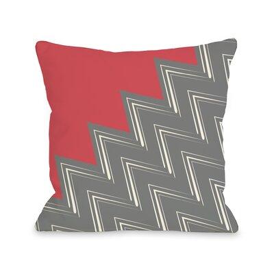 Maxine Asymmetry Chevron Throw Pillow Color: Firey Coral Gray, Size: 18 x 18