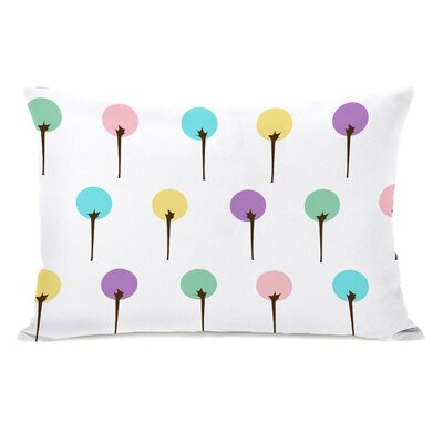 Colorful Trees Lumbar Pillow Color: White Pastel