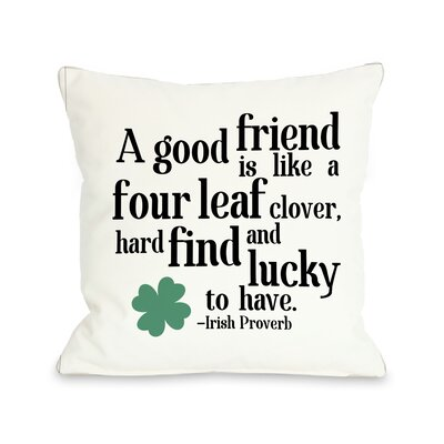 Irish Proverb Clover Throw Pillow