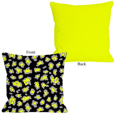 Gabriella Cheetah Throw Pillow Size: 26 H x 26 W, Color: Neon - Yellow