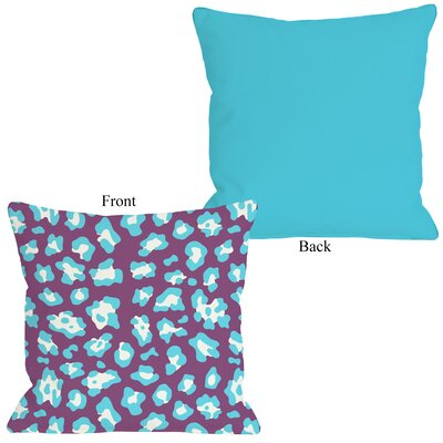 Gabriella Cheetah Throw Pillow Size: 16 H x 16 W, Color: Neon - Purple Blue
