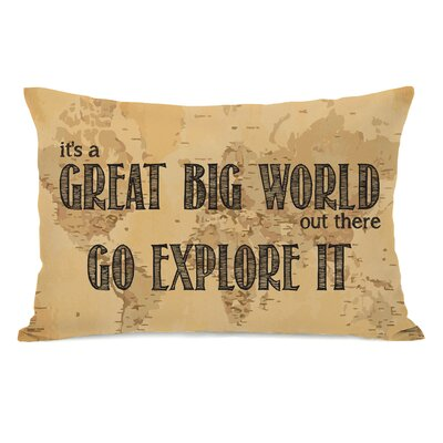 Great Big World Map Fleece Lumbar Pillow