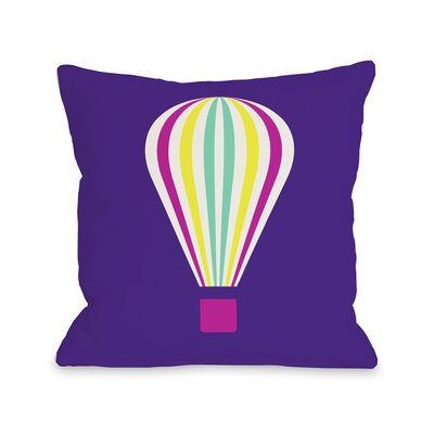 Hot Air Balloon Throw Pillow Size: 16 H x 16 W, Color: Neon