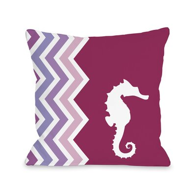 Chevron Seahorse Throw Pillow Size: 18 H x 18 W