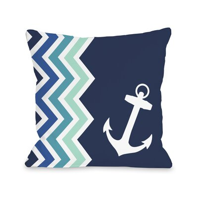 Chevron Anchor Throw Pillow Size: 18 H x 18 W