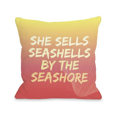 Seashell by The Seashore Throw Pillow Size: 18 H x 18 W