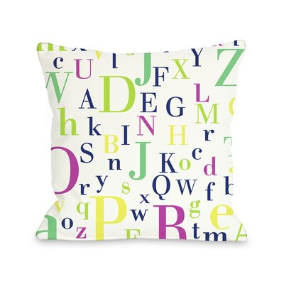 Neon Letters Throw Pillow Size: 16