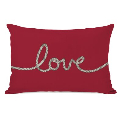 Love Rope Fleece Lumbar Pillow Color: Red