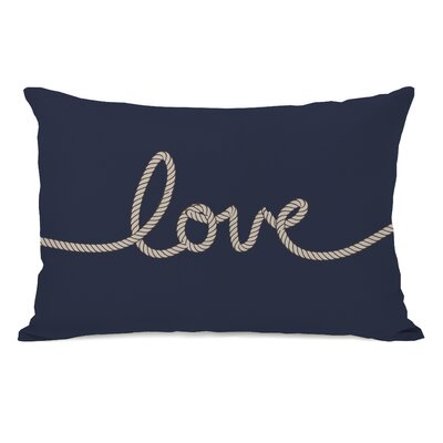 Love Rope Fleece Lumbar Pillow Color: Navy