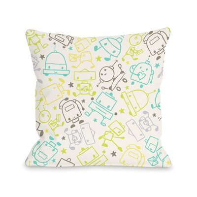 Space Robots Throw Pillow Size: 16 H x 16 W