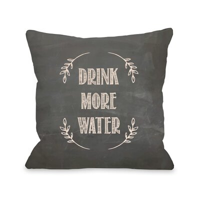 Drink More Water Chalkboard Throw Pillow Size: 18 H x 18 W