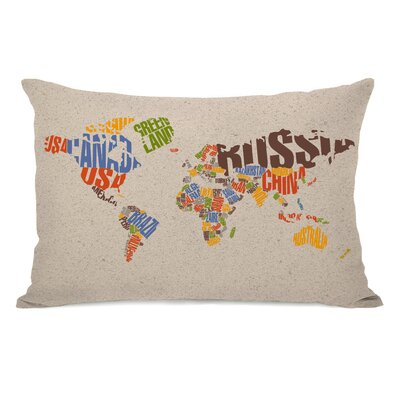 World Map Lumbar Pillow