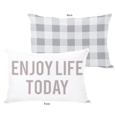 Enjoy Life Today Block Letter Gingham Lumbar Pillow