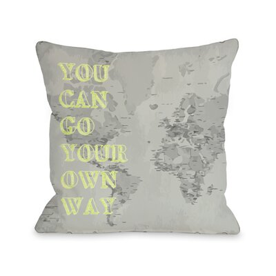 Go Your Own Way Map Throw Pillow Size: 18 H x 18 W