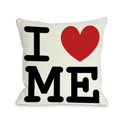 I Heart Me Throw Pillow Size: 18 H x 18 W