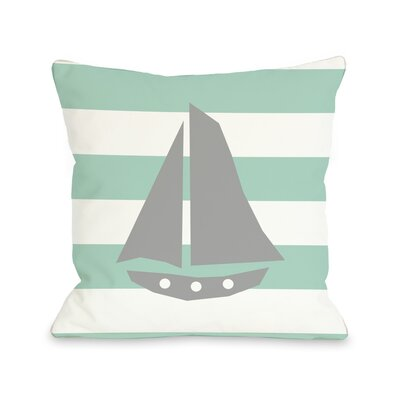 Striped Sailboat Throw Pillow Color: Gray, Size: 26 H x 26 W