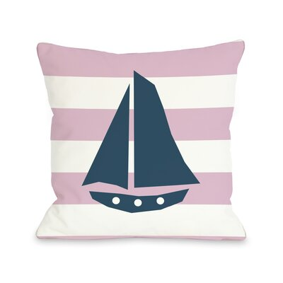 Striped Sailboat Throw Pillow Size: 16 H x 16 W, Color: Pink