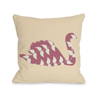 Swan Throw Pillow Size: 18 H x 18 W