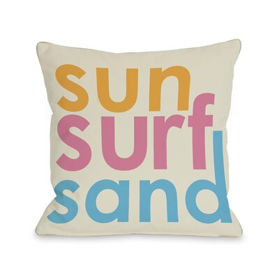 Sun Surf Sand Throw Pillow Size: 18 H x 18 W