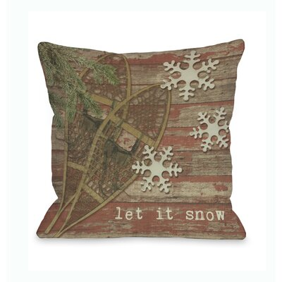 Let It Snow Snowshoes Throw Pillow