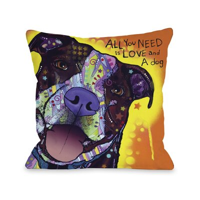 Doggy Decor Daisy Pit Throw Pillow Size: 16 L x 16 W