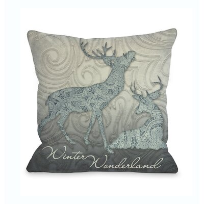 Winter Wonderland Reindeer Throw Pillow