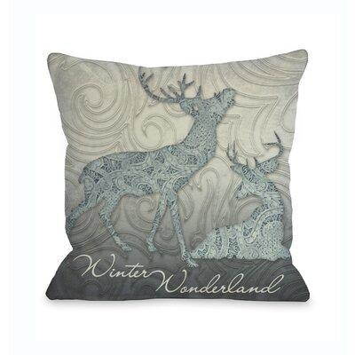 Winter Wonderland Reindeer Throw Pillow