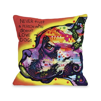 Doggy D�cor Profile Boxer with Text Throw Pillow Size: 16 H x 16 W