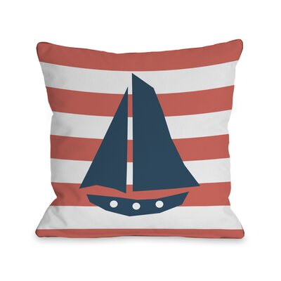 Striped Sailboat Throw Pillow Size: 18 H x 18 W, Color: Coral
