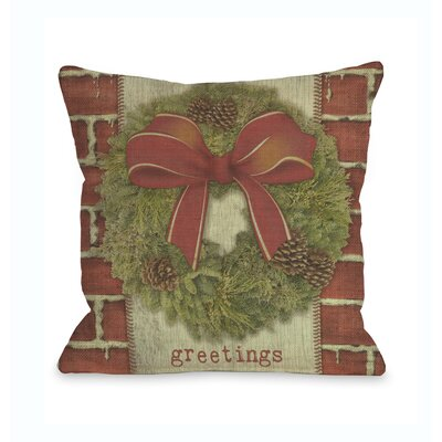 Greetings Wreath Throw Pillow