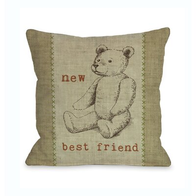 New Best Friend Bear Throw Pillow