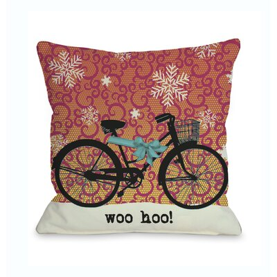 Woo Hoo Bike in Snow Throw Pillow