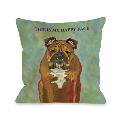 Doggy D�cor This Is My Happy Face Throw Pillow