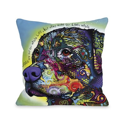 Doggy D�cor The Rottweiler with Text Throw Pillow Size: 18 H x 18 W