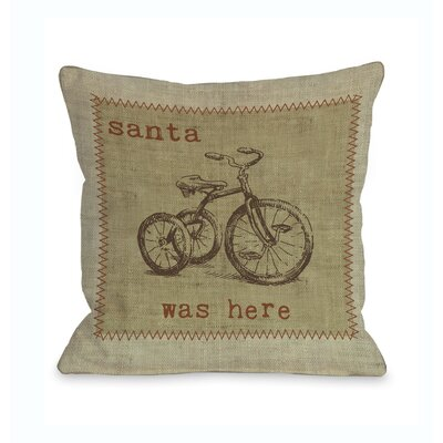 Santa Was Here Bike Throw Pillow