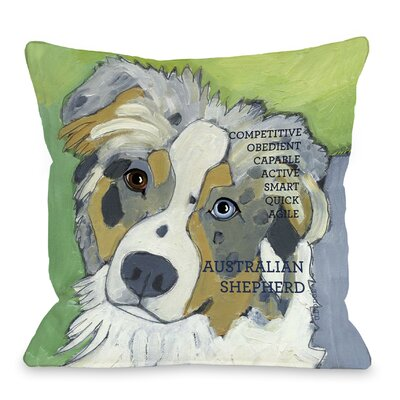 Doggy D�cor Australian Sheep Dog Throw Pillow Size: 18