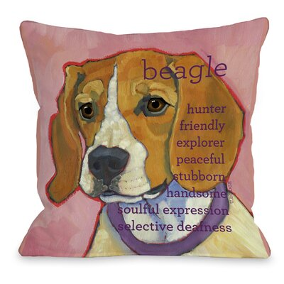Doggy D�cor Beagle Throw Pillow Size: 26 H x 26 W