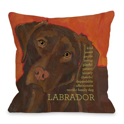 Doggy D�cor Labrador Throw Pillow Size: 20 H x 20 W
