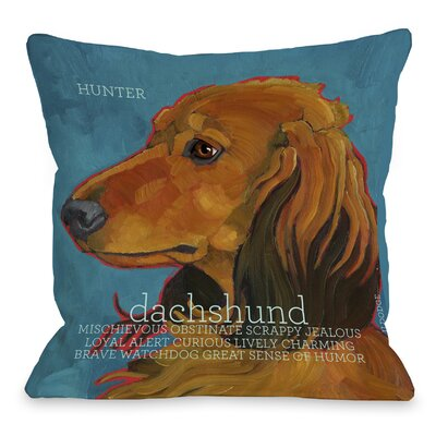 Doggy D�cor Daschund Throw Pillow Size: 16 H x 16 W