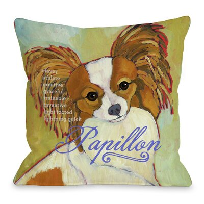 Doggy D�cor Papillion Throw Pillow Size: 18 H x 18 W
