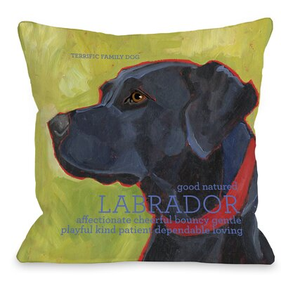 Doggy D�cor Labrador Throw Pillow Size: 18 H x 18 W