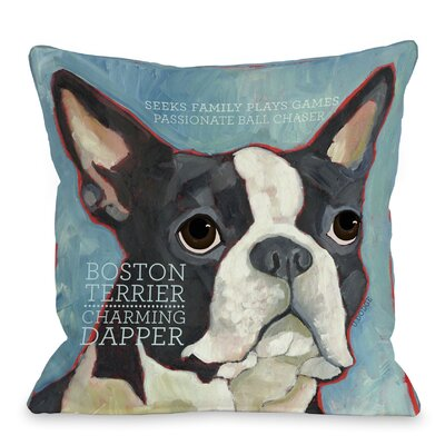 Doggy D�cor Boston Terrier 1 Throw Pillow Size: 26 H x 26 W