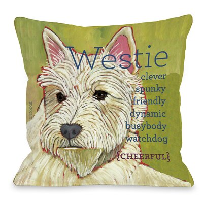 Doggy D�cor Westie Throw Pillow Size: 18 H x 18 W