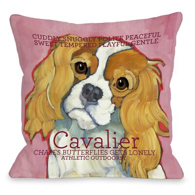 Doggy D�cor Cavalier Throw Pillow Size: 18 H x 18 W