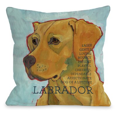 Doggy D�cor Labrador III Throw Pillow Size: 18 H x 18 W