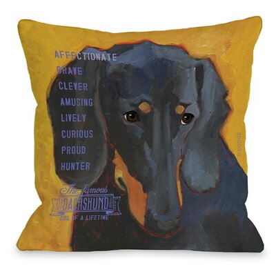Doggy D�cor Daschund Throw Pillow Size: 26 H x 26 W