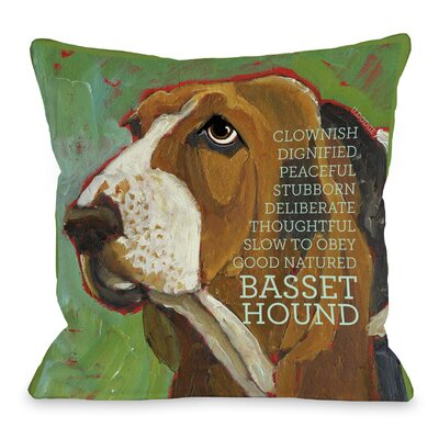 Doggy D�cor Bassett Hound Throw Pillow Size: 18 H x 18 W
