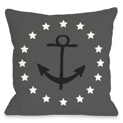 Anchor Circle Stars Throw Pillow Size: 26 H x 26 W, Color: Gray Black